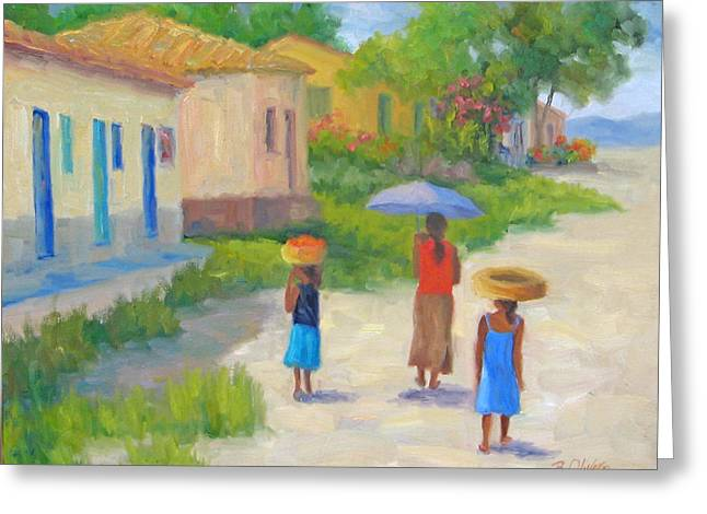 Unbrella Greeting Cards - Afternoon Stroll Greeting Card by Bunny Oliver