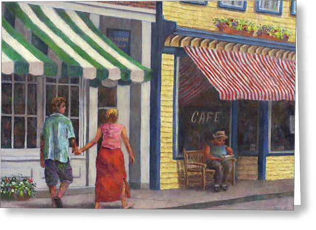 Awnings Greeting Cards - Afternoon Stroll Greeting Card by Susan Savad
