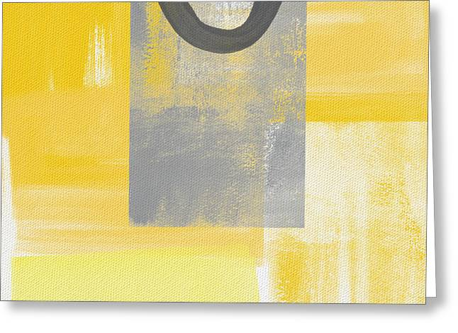 Yellow Line Greeting Cards - Afternoon Sun and Shade Greeting Card by Linda Woods