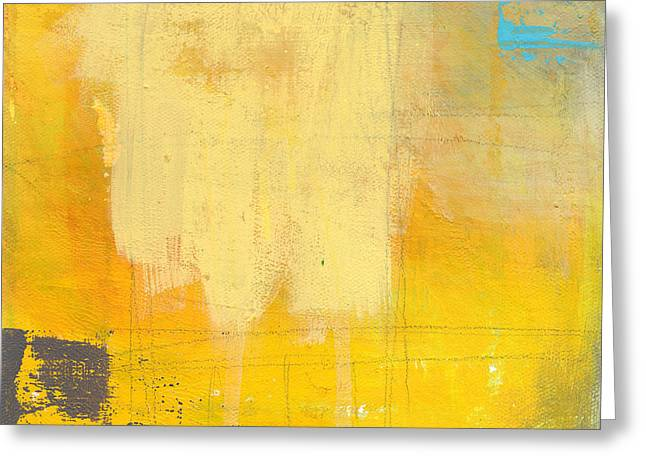 Yellow Abstract Art Greeting Cards - Afternoon Sun -Large Greeting Card by Linda Woods