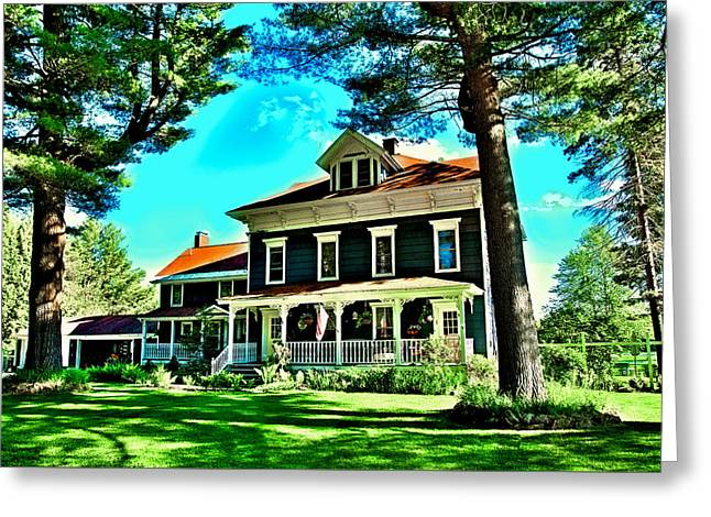 Old And New Greeting Cards - Afternoon Sun on the Moose River House Greeting Card by David Patterson