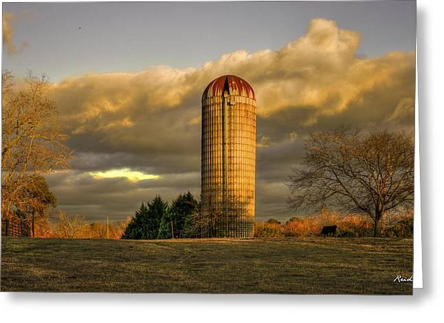 Afternoon Sunset Glow Rustic Silo Farm Art Greeting Card by Reid Callaway