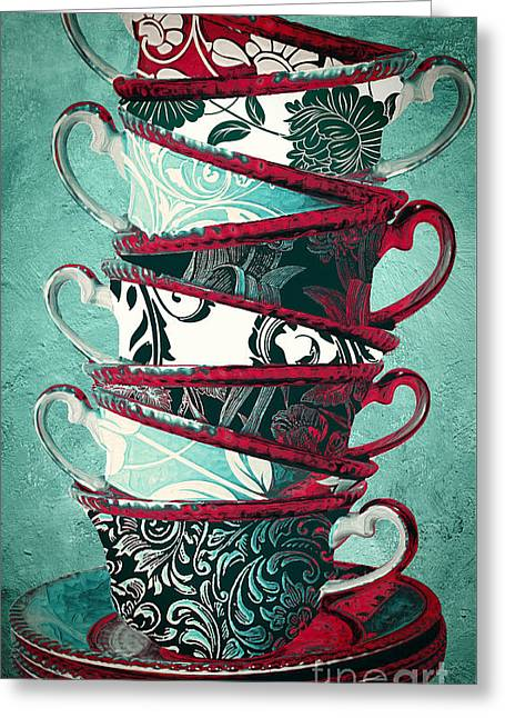 Damask Greeting Cards - Afternoon Tea Aqua Greeting Card by Mindy Sommers