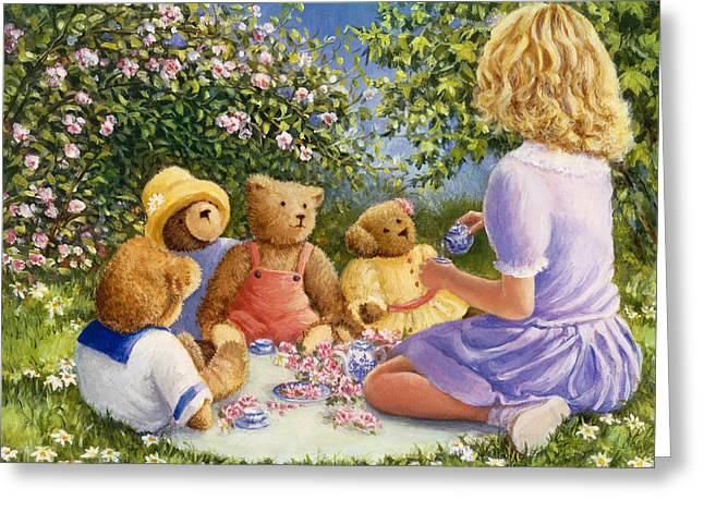 Little Girl Greeting Cards - Afternoon Tea Greeting Card by Susan Rinehart