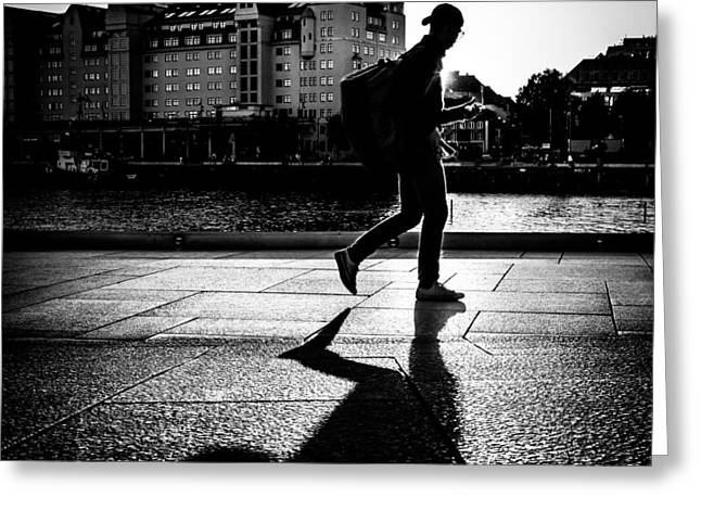Against The Sun - Oslo, Norway - Black And White Street Photography Greeting Card by Giuseppe Milo