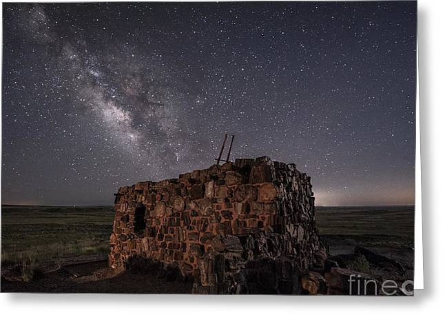 Petrified Forest National Park Greeting Cards - Agate House at Night Greeting Card by Melany Sarafis