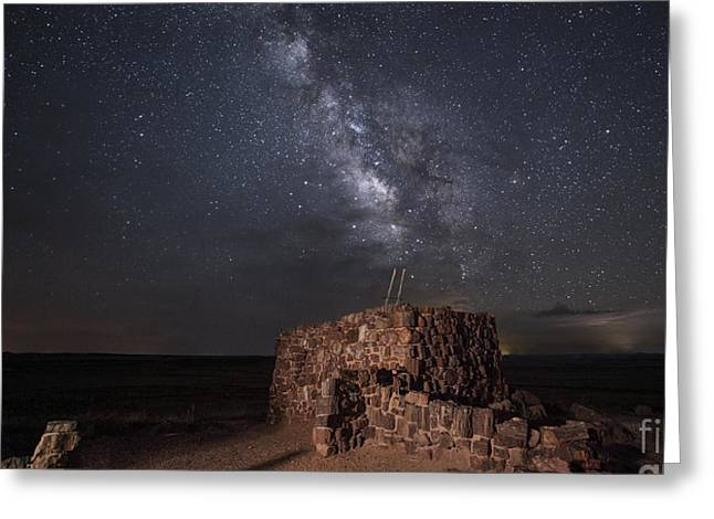 Petrified Forest National Park Greeting Cards - Agate House at Night2 Greeting Card by Melany Sarafis