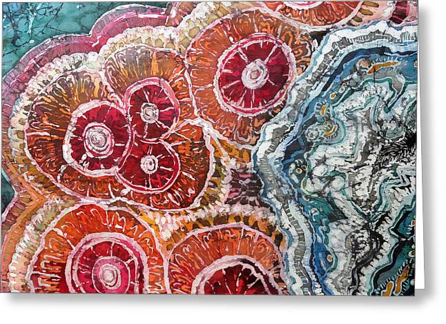 Orange Tapestries - Textiles Greeting Cards - Agate Inspiration - 16A Greeting Card by Sue Duda
