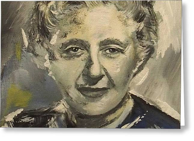 Agatha Christie Art Greeting Card by Emma Childs