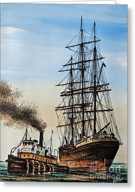Tug Greeting Cards - Age of Steam and Sail Greeting Card by James Williamson