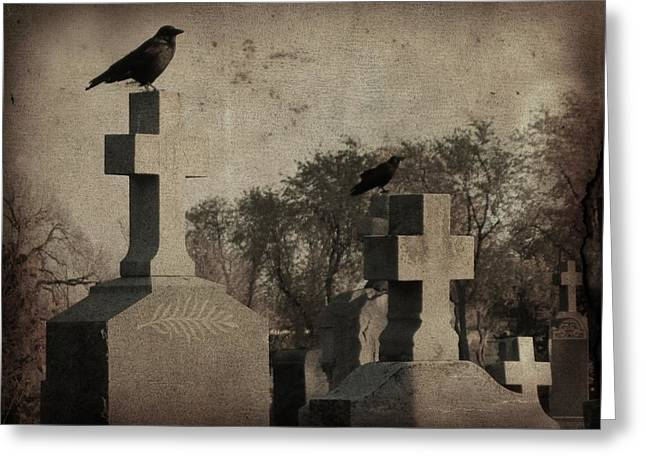 Aged Graveyard Scene Greeting Card by Gothicrow Images
