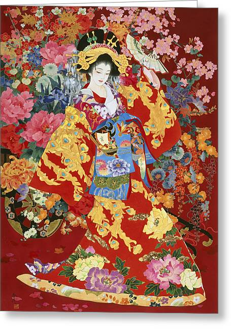 Dancing Petals Greeting Cards - Agemaki Greeting Card by Haruyo Morita