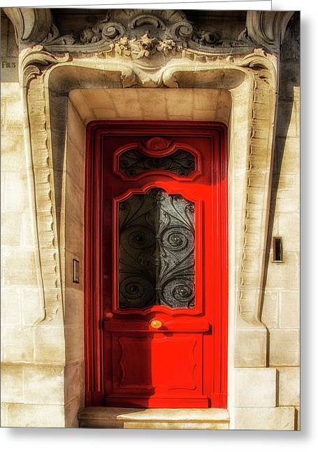 South West France Greeting Cards - Agen Red Door in France Greeting Card by Nomad Art And  Design
