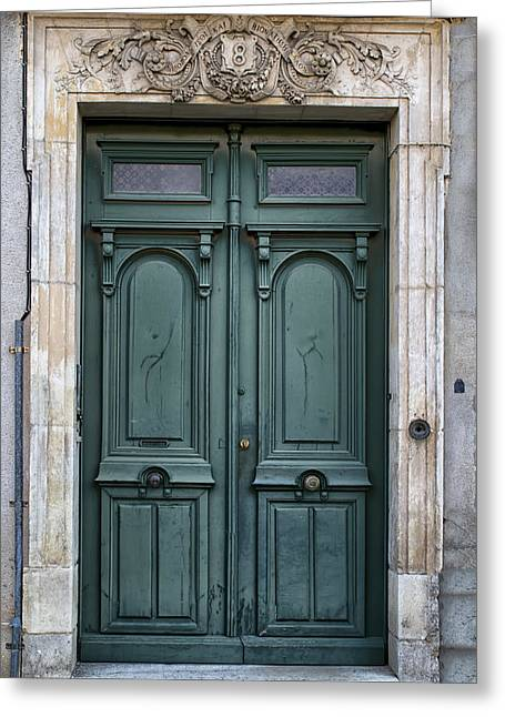 South West France Greeting Cards - Agen Teal Green Door in France Greeting Card by Nomad Art And  Design