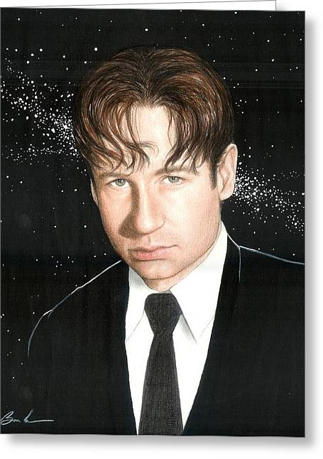X Files Greeting Cards - Agent Mulder Greeting Card by Bruce Lennon