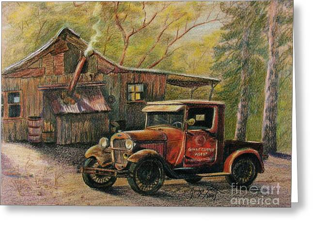Tin Roof Drawings Greeting Cards - Agents Visit Greeting Card by Marilyn Smith