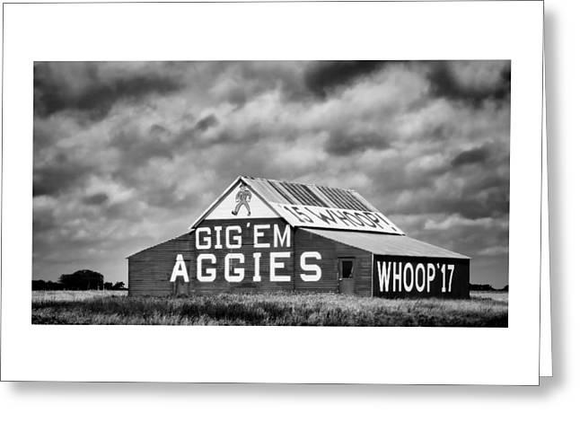 Tamu Greeting Cards - Aggie Barn in BW Greeting Card by Stephen Stookey