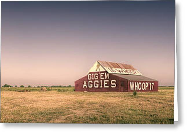Aggie Barn Panorama Greeting Card by Joan Carroll