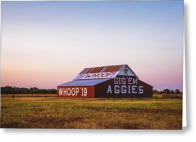 Tamu Greeting Cards - Aggie Barn Sunrise 2015 Greeting Card by Joan Carroll