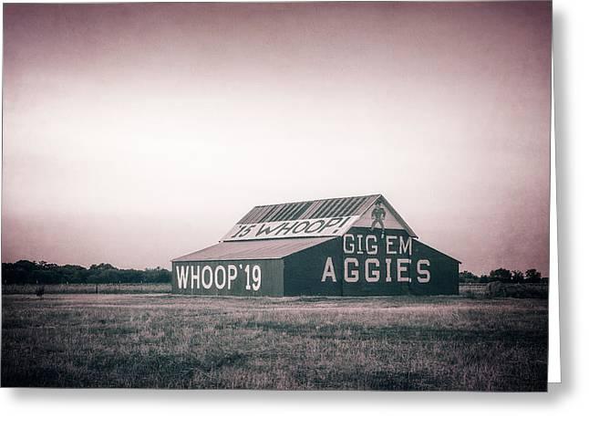 Tamu Greeting Cards - Aggie Barn Sunrise 2015 Platinum Textured Greeting Card by Joan Carroll
