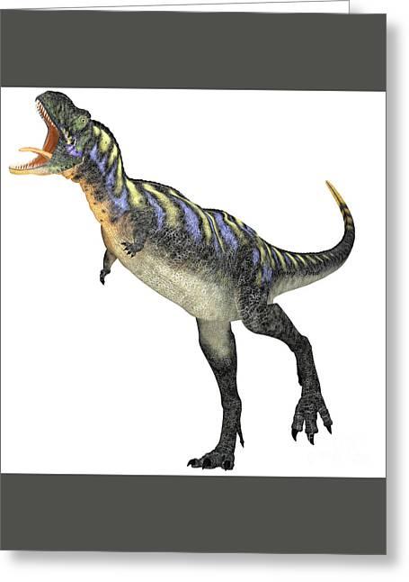 Aggressive Digital Greeting Cards - Aggressive Aucasaurus Dinosaur Greeting Card by Corey Ford