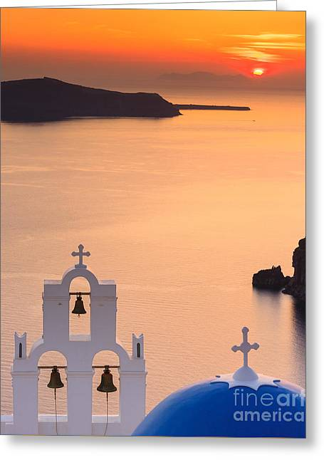 White Photographs Greeting Cards - Aghioi Theodoroi Church at Firostefani Greeting Card by Henk Meijer Photography