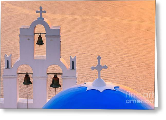 Print Greeting Cards - Aghioi Theodoroi church at Firostefani, Santorini Greeting Card by Henk Meijer Photography