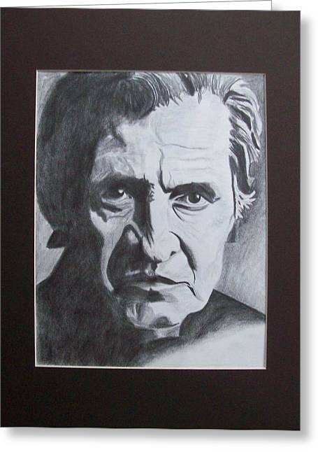 Aging Johnny Cash Greeting Card by Mikayla Ziegler