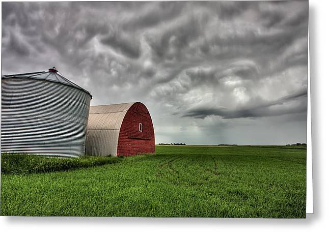 Cereal Digital Art Greeting Cards - Agriculture Storage Bins Granaries Greeting Card by Mark Duffy