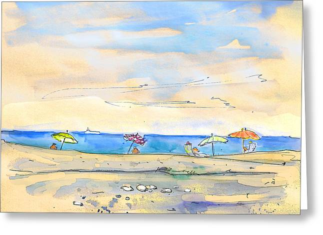 Travel Sketch Drawings Greeting Cards - Agua Amarga 01 Greeting Card by Miki De Goodaboom