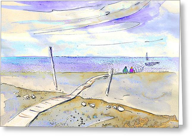 Travel Sketch Drawings Greeting Cards - Agua Amarga 03 Greeting Card by Miki De Goodaboom