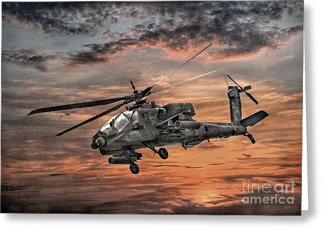 Combat Greeting Cards - AH-64 Apache Attack Helicopter Greeting Card by Randy Steele