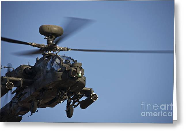 Angel Blues Greeting Cards - Ah-64d Apache Longbow Lifts Greeting Card by Terry Moore