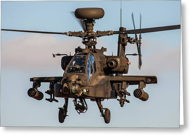 Iraq Prints Greeting Cards - AH64 Apache flying Greeting Card by Ken Brannen