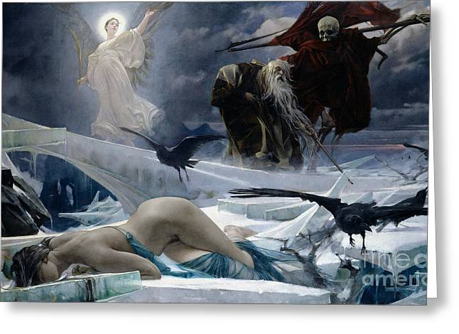 Canvas Crows Greeting Cards - Ahasuerus at the End of the World Greeting Card by Adolph Hiremy Hirschl