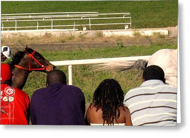 Race Horse Greeting Cards - Ahead By Two Lengths Greeting Card by Ian  MacDonald