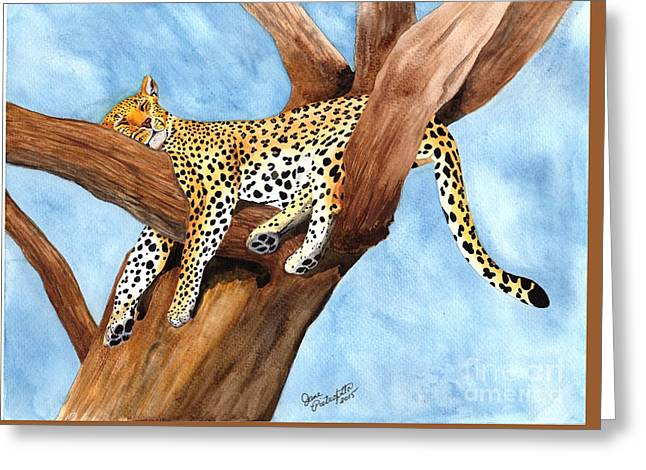 Leopard Drawings Greeting Cards - Ahhhhhh...... Greeting Card by Jane Pietrofitta
