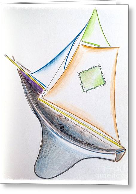 Masts Drawings Greeting Cards - Ahoy Greeting Card by Barbara Chase