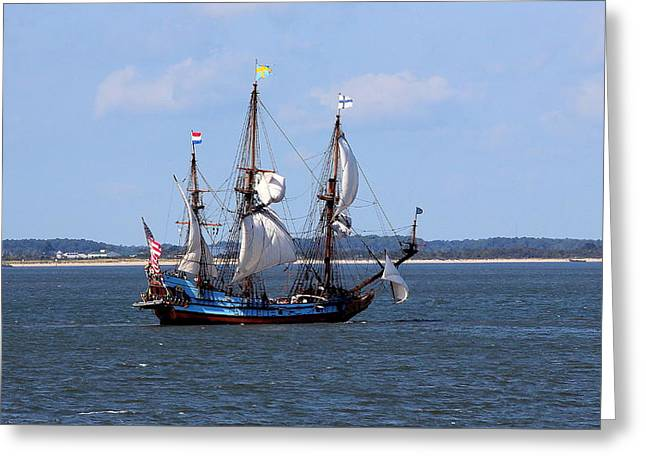 Sailing Ship Greeting Cards - Ahoy Mate Greeting Card by Brian Manfra