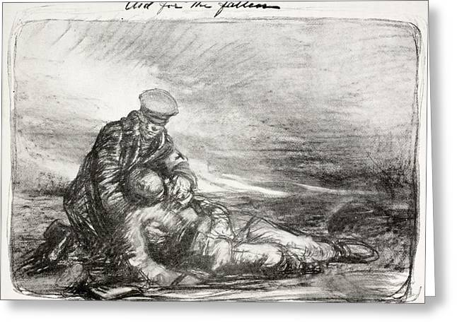 Help Drawings Greeting Cards - Aid For The Fallen. A Soldier Helps A Greeting Card by Ken Welsh