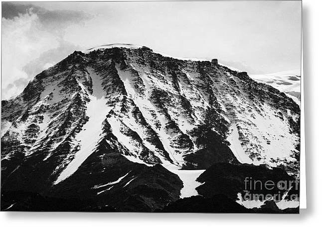 Geology Photographs Greeting Cards - Aiguille du Gouter and mountain refuge Mont Blanc massif Rhone-Alps France Europe Black and White Greeting Card by Jon Boyes