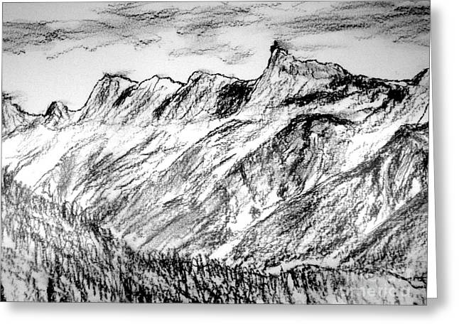 Midi Drawings Greeting Cards - Aiguille du Midi Greeting Card by Michael Canning