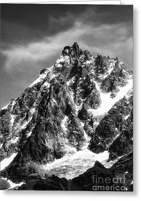 Geology Photographs Greeting Cards - Aiguille du Midi summit with cable car station Chamonix French alps France Europe Black and White Greeting Card by Jon Boyes