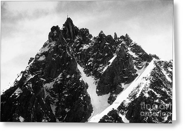 Geology Photographs Greeting Cards - Aiguille du Midi with cable car station on the summit above Chamonix France Europe Black and White Greeting Card by Jon Boyes