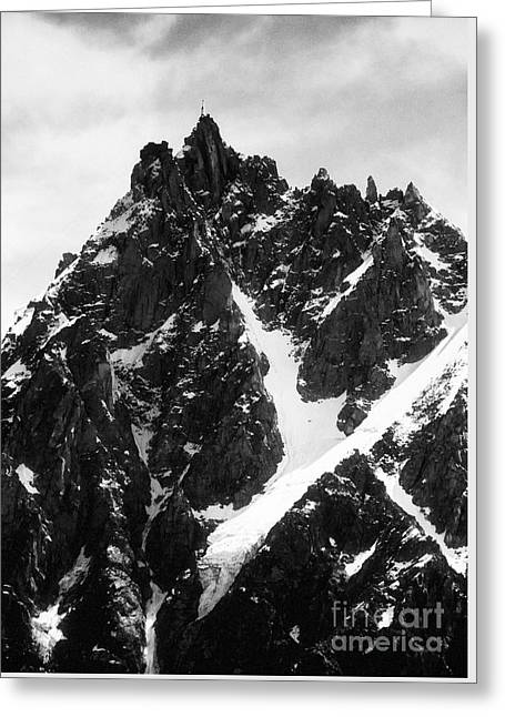 Geology Photographs Greeting Cards - Aiguille du Midi with cable car station on the summit French Alps France Europe Black and White Greeting Card by Jon Boyes