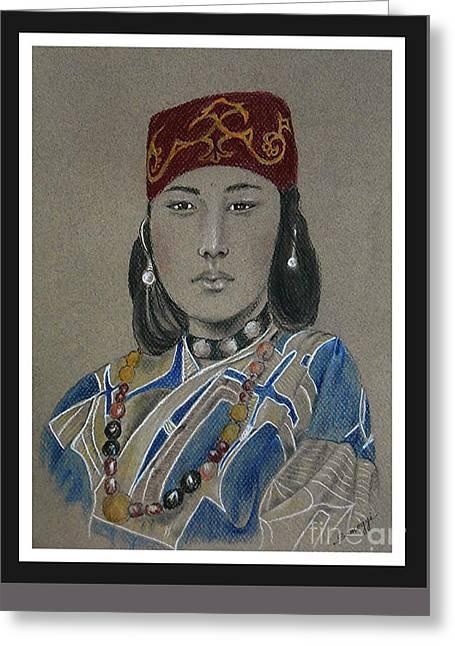20th Pastels Greeting Cards - Ainu Woman Greeting Card by Jayne Somogy