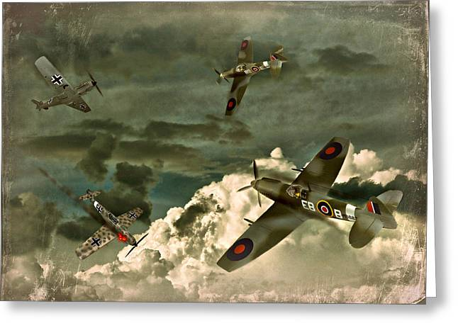 Spitfire Greeting Cards - Air Attack Greeting Card by Steven Agius