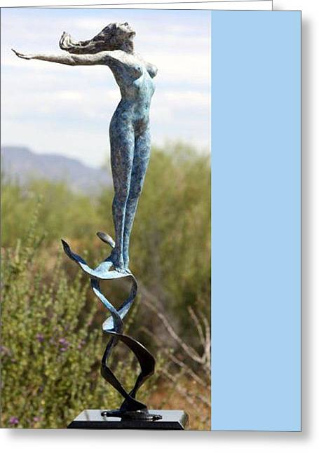 Air Sculptures Greeting Cards - Air Bronze Sculpture Greeting Card by J Anne Butler