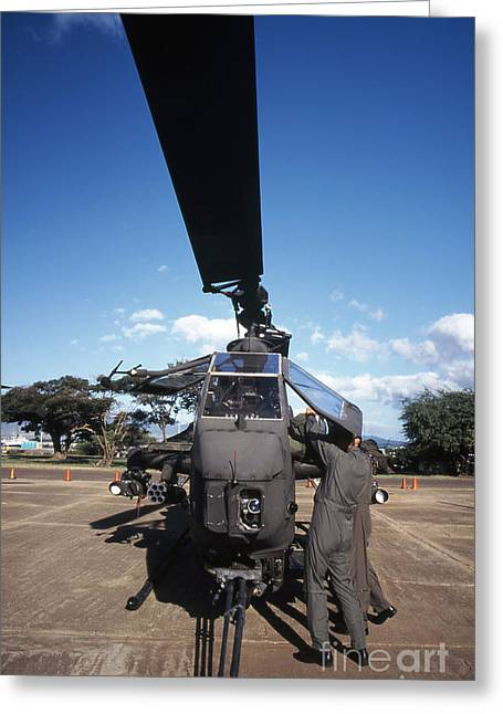 Cobra Photographs Greeting Cards - Air Crewmen Secure An Ah-1 Cobra Attack Greeting Card by Michael Wood