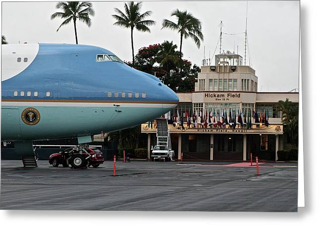 Hickam Greeting Cards - Air Force One at Hickam Greeting Card by Eddie Freeman